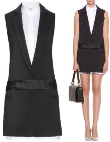 VICTORIA-VICTORIA-BECKHAM-COTTON-BLEND-TUXEDO-DRESS
